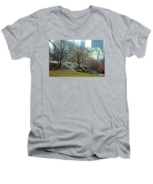 Trees In Rock Men's V-Neck T-Shirt by Sandy Moulder
