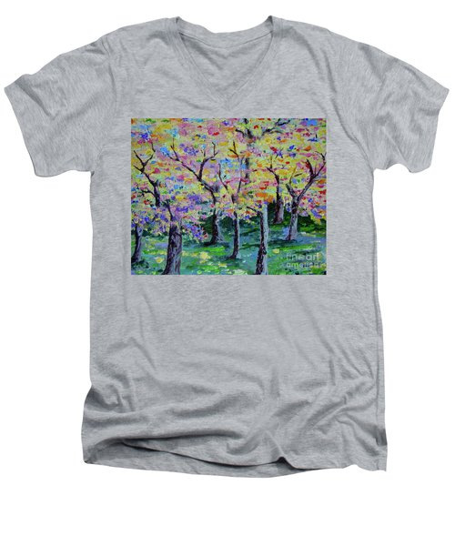 Trees On Hideaway Ct Men's V-Neck T-Shirt by Lisa Rose Musselwhite