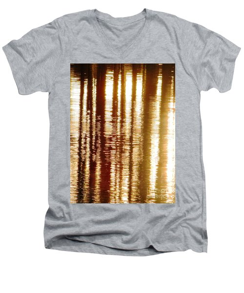 Trees On Rippled Water Men's V-Neck T-Shirt by Melissa Stoudt