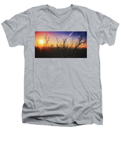 Men's V-Neck T-Shirt featuring the photograph Treetop Silhouette - Sunset At Lapham Peak #1 by Jennifer Rondinelli Reilly - Fine Art Photography