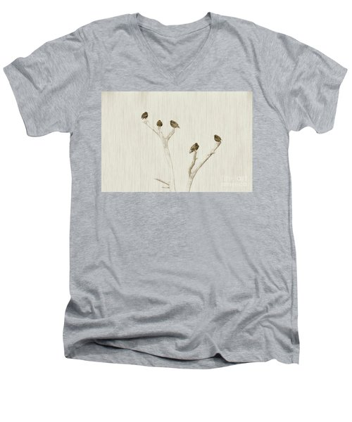Treetop Starlings Men's V-Neck T-Shirt by Benanne Stiens
