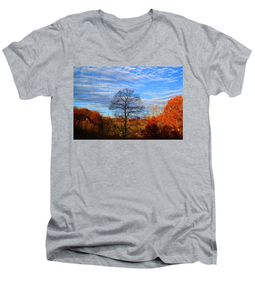Men's V-Neck T-Shirt featuring the photograph Treetops Sunrise by Kathryn Meyer