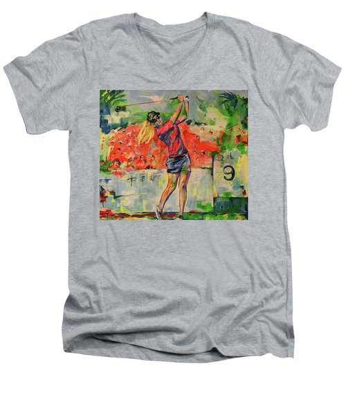 Treibschlag Vom 9 Tee  Drive From The 9th Tee Men's V-Neck T-Shirt by Koro Arandia