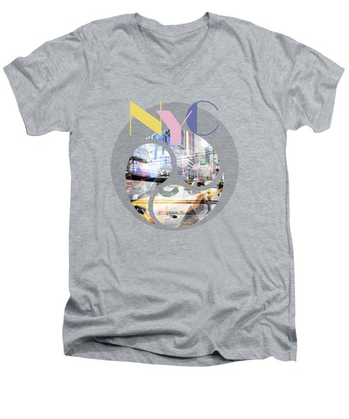 Trendy Design New York City Geometric Mix No 1 Men's V-Neck T-Shirt by Melanie Viola