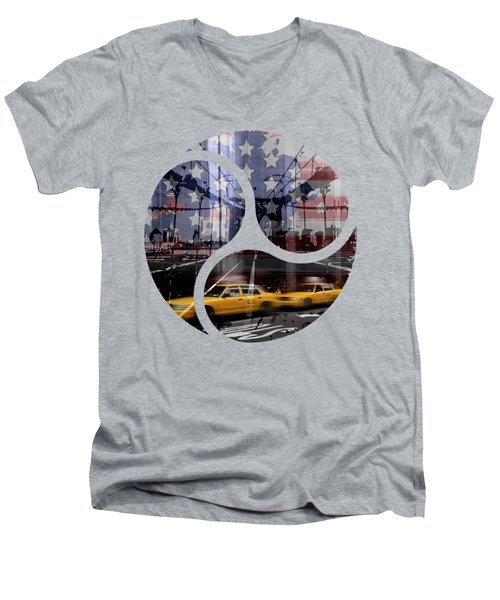 Trendy Design Nyc Composing Men's V-Neck T-Shirt by Melanie Viola