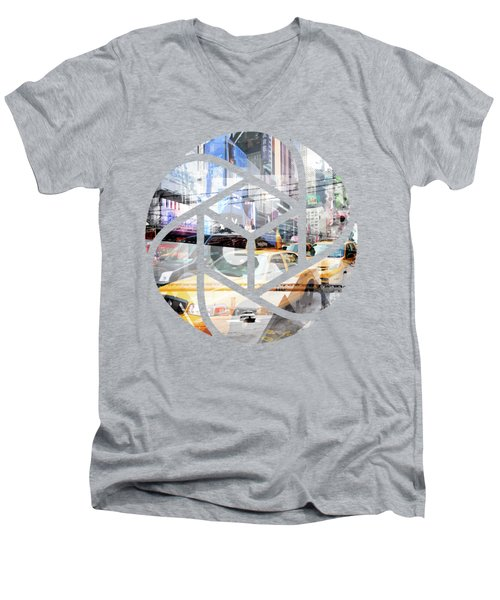 Trendy Design Nyc Geometric Mix No 9 Men's V-Neck T-Shirt by Melanie Viola