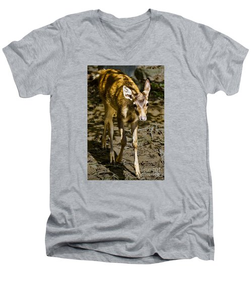 Men's V-Neck T-Shirt featuring the photograph Trepidation by Ray Shiu