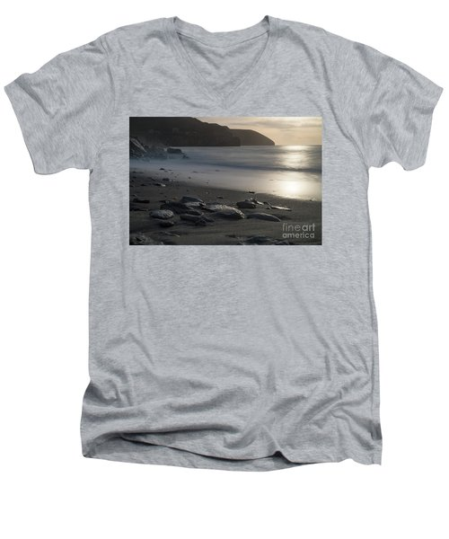 Men's V-Neck T-Shirt featuring the photograph Photographs Of Cornwall Trevellas Cove Cornwall by Brian Roscorla