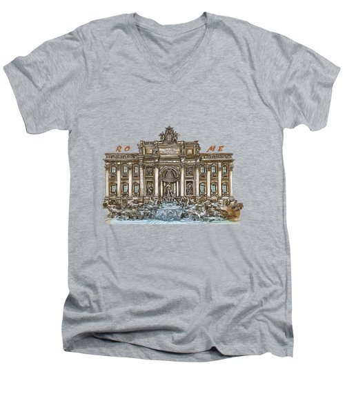 Men's V-Neck T-Shirt featuring the painting  Trevi Fountain,rome  by Andrzej Szczerski
