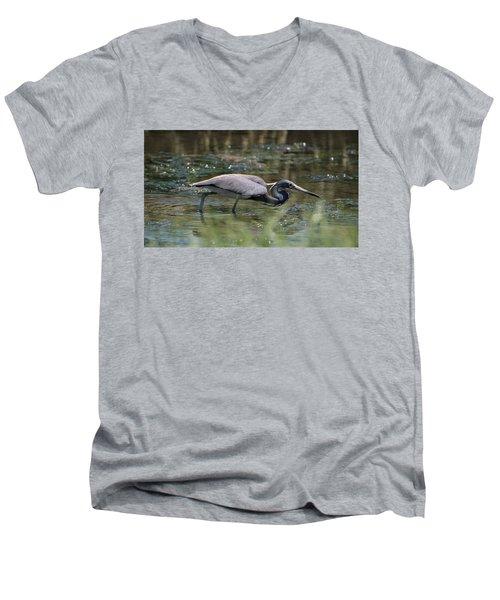 Tri Color Heron Hunting Men's V-Neck T-Shirt