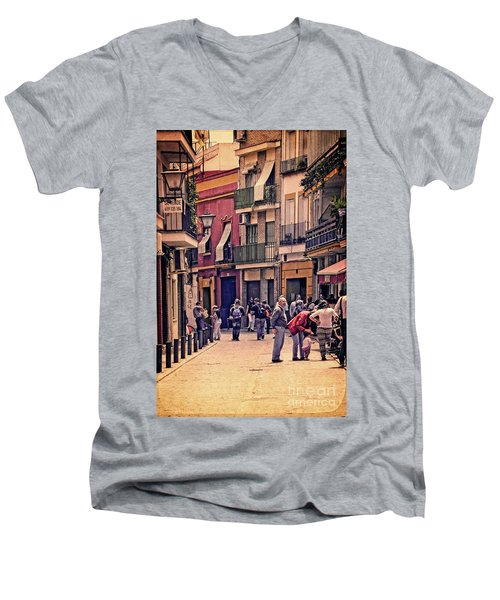 Men's V-Neck T-Shirt featuring the photograph Triana On A Sunday Afternoon 2 by Mary Machare
