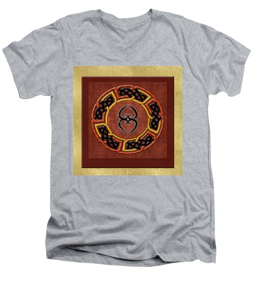 Men's V-Neck T-Shirt featuring the painting Tribal Celt Asase Ye Duru Mother Earth Symbol by Kandy Hurley