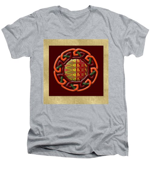 Men's V-Neck T-Shirt featuring the painting Tribal Celt Earthiness by Kandy Hurley