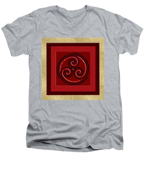 Men's V-Neck T-Shirt featuring the painting Tribal Celt Triple Spiral by Kandy Hurley