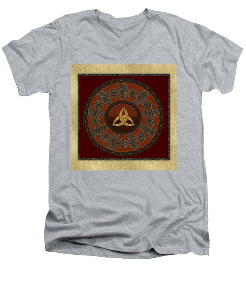 Men's V-Neck T-Shirt featuring the painting Tribal Celt Triquetra Symbol by Kandy Hurley