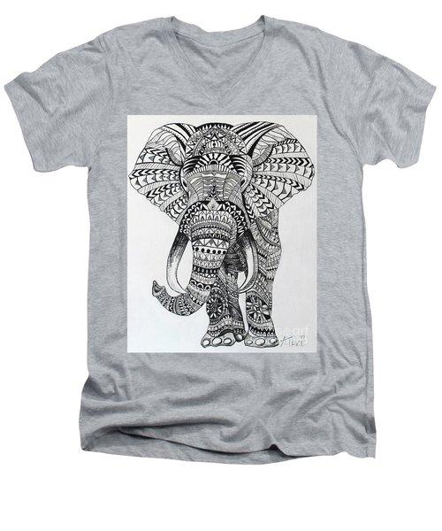 Tribal Elephant Men's V-Neck T-Shirt by Ashley Price