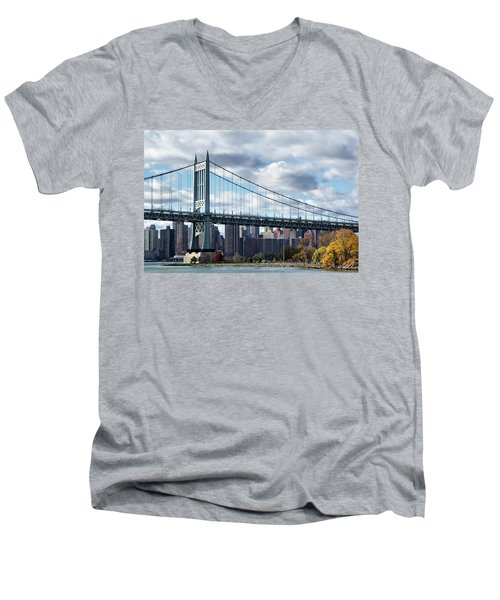 Triboro Bridge In Autumn Men's V-Neck T-Shirt