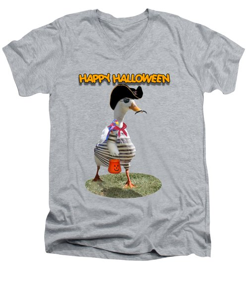 Trick Or Treat For Cap'n Duck Men's V-Neck T-Shirt by Gravityx9 Designs