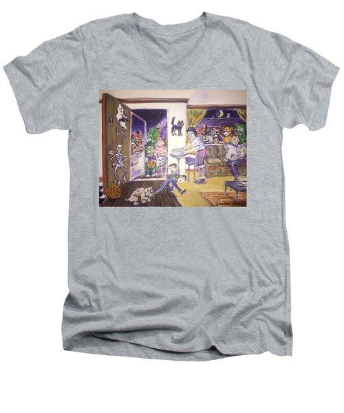 Trick Or Treat On Exeter Street Men's V-Neck T-Shirt