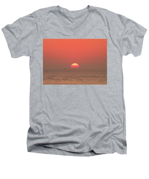 Tricolor Sunrise Men's V-Neck T-Shirt