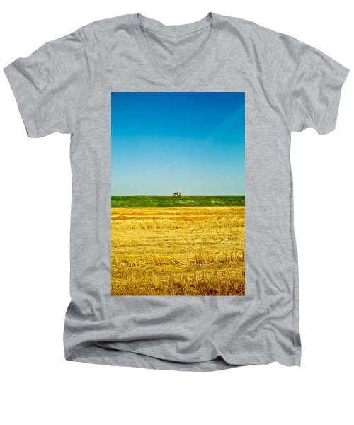 Tricolor With Tractor Men's V-Neck T-Shirt