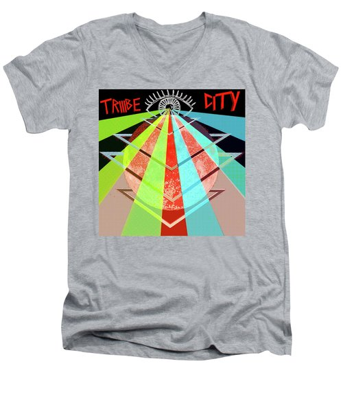Men's V-Neck T-Shirt featuring the painting Triiibe City For Bxdizzy419 by Chief Hachibi