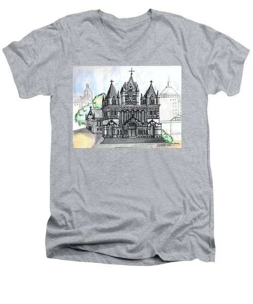 Trinity Church Boston Men's V-Neck T-Shirt by Paul Meinerth