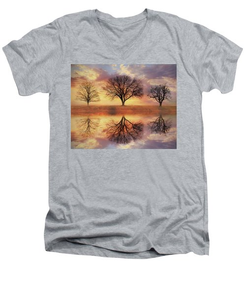 Men's V-Neck T-Shirt featuring the mixed media Trio Of Trees by Lori Deiter