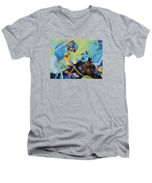 Triple Crown Champion American Pharoah Men's V-Neck T-Shirt by Donna Tuten