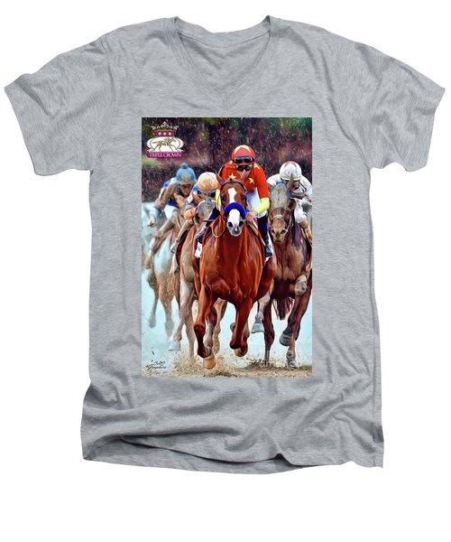 Triple Crown Winner Justify 2 Men's V-Neck T-Shirt