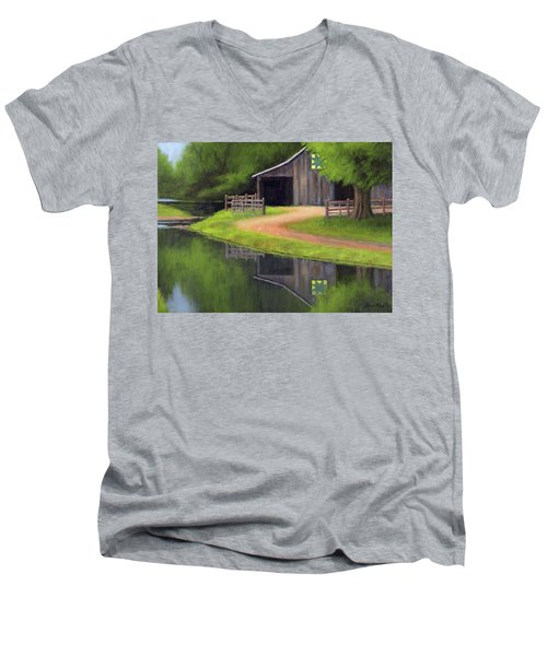 Men's V-Neck T-Shirt featuring the painting Triple L Ranch  by Janet King