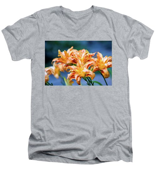 Men's V-Neck T-Shirt featuring the photograph Triple Lilies by Linda Segerson