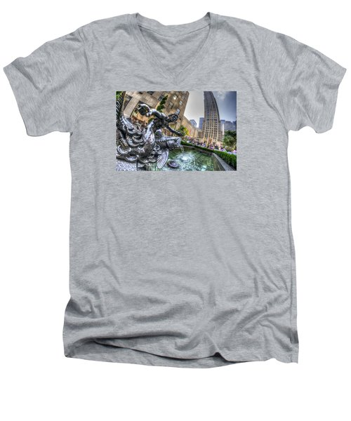 Triton Men's V-Neck T-Shirt by Rafael Quirindongo