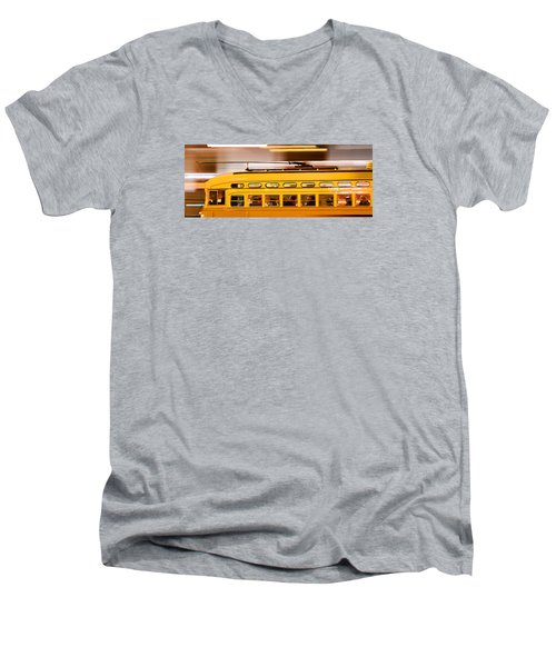 Men's V-Neck T-Shirt featuring the photograph Trolley 1052 On The Move by Steve Siri