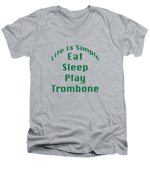 Trombone Eat Sleep Play Trombone 5517.02 Men's V-Neck T-Shirt by M K  Miller