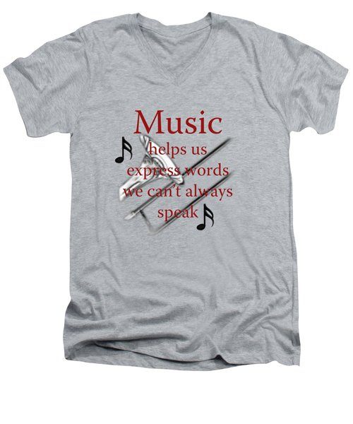 Trombone Music Expresses Words Men's V-Neck T-Shirt by M K  Miller