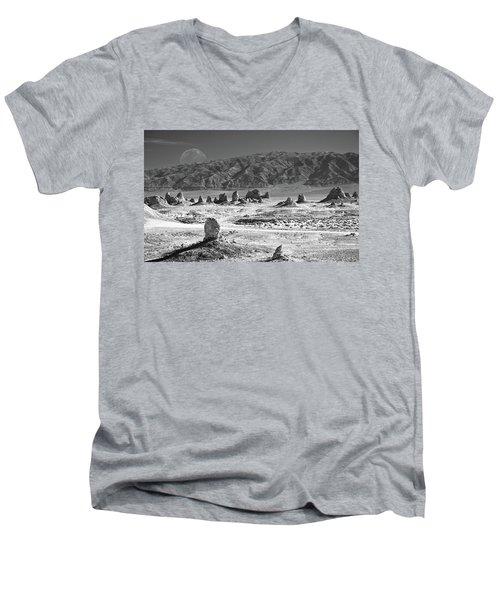 Trona Pinnacles With The Moon Men's V-Neck T-Shirt by Marius Sipa