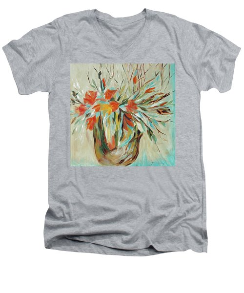Men's V-Neck T-Shirt featuring the painting Tropical Arrangement by Joanne Smoley