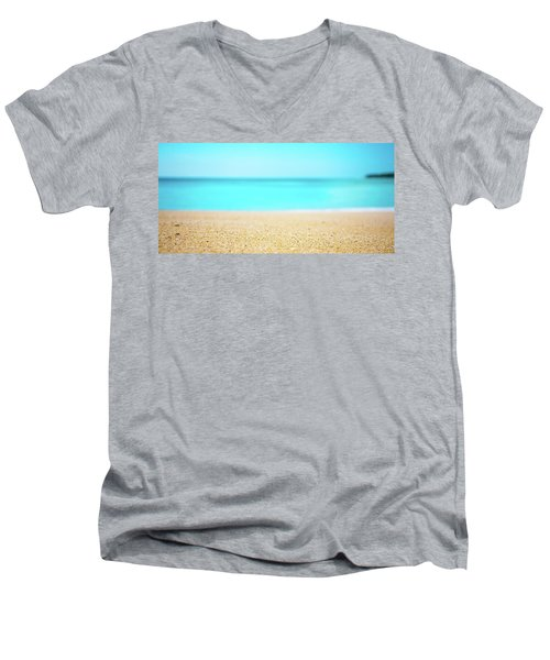 Tropical Art - Turquoise Sand Beach Lagoon Photography Men's V-Neck T-Shirt by Modern Art Prints