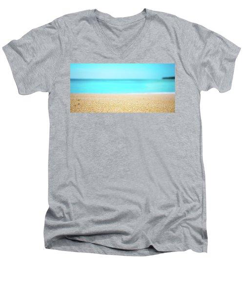 Tropical Art - Turquoise Sand Beach Lagoon Photography Men's V-Neck T-Shirt