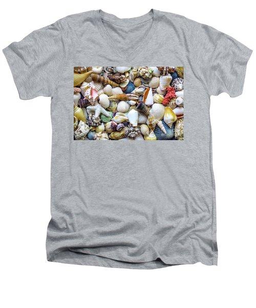 Men's V-Neck T-Shirt featuring the photograph Tropical Beach Seashell Treasures 1529b by Ricardos Creations
