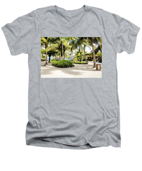 Tropical Courtyard Men's V-Neck T-Shirt by Lawrence Burry