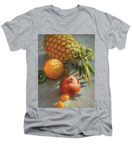 tropical Fruit Large Men's V-Neck T-Shirt