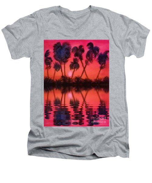 Tropical Heat Wave Men's V-Neck T-Shirt by Holly Martinson