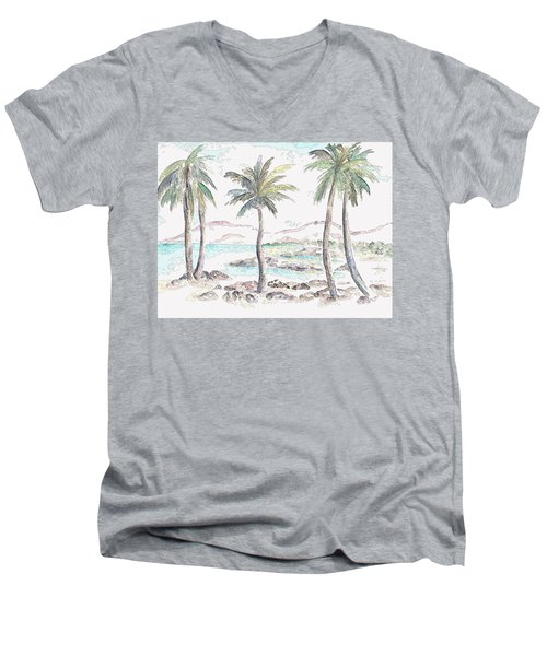 Men's V-Neck T-Shirt featuring the digital art Tropical Island by Elizabeth Lock
