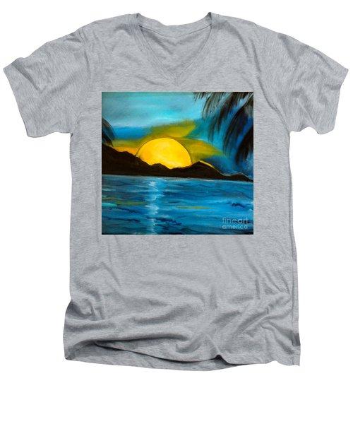 Tropical Moonshine Men's V-Neck T-Shirt by Jenny Lee