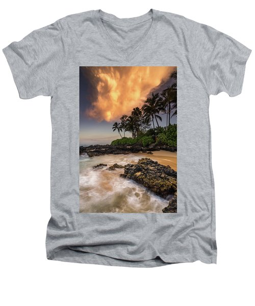 Tropical Nuclear Sunrise Men's V-Neck T-Shirt by Pierre Leclerc Photography