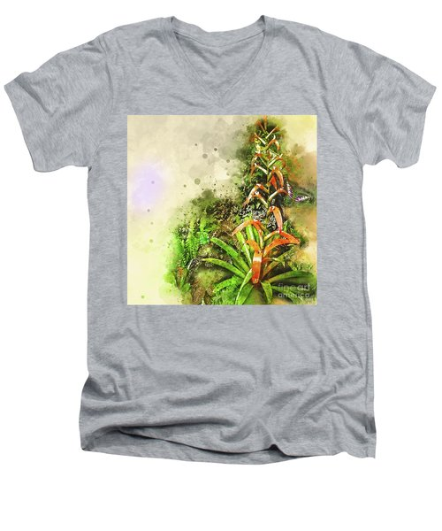 Tropical Orange Men's V-Neck T-Shirt by Deborah Nakano