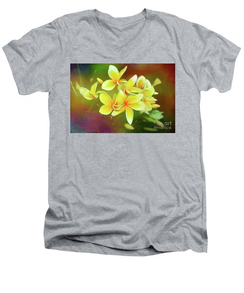 Men's V-Neck T-Shirt featuring the photograph Tropical Plumeria Art By Kaye Menner by Kaye Menner