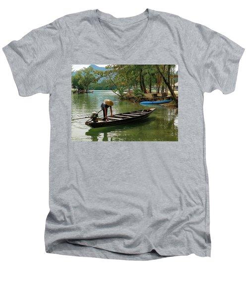 Tropical River  Men's V-Neck T-Shirt